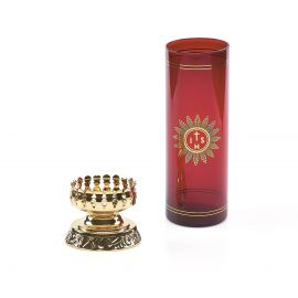 Lampka wieczna oliwna z wkładem i dekorowaną podstawą (1)