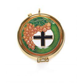 Cyborium z plakietką emaliowaną - winogrono i krzyż