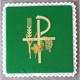 Palka haftowana zielona - P, kłos, winogrona