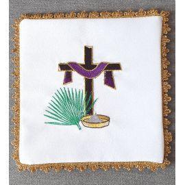 Palka haftowana krzyż + szata fiolet