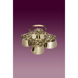 Dzwonek poczwórny, barokowy, mosiądz błyszczący
