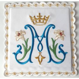 Palka wzór niebieski Maryjny