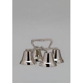 Dzwonek liturgiczny poczwórny, mosiężny, niklowany