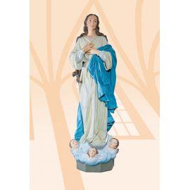 Figura Matka Boża z aniołkami kolor - 130 cm