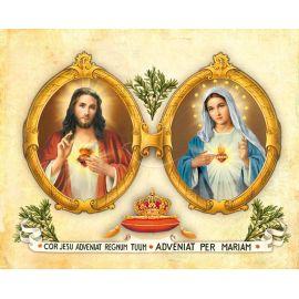 Obrazek 20x25 - Najświętsze Serce Pana Jezusa i Niepokalane Serce Maryi