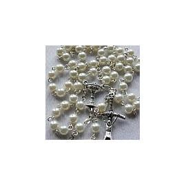 Różaniec komunijny - biała perła