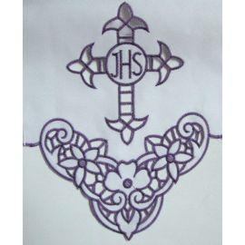 Obrus ołtarzowy haftowany - fioletowy krzyż IHS (58)