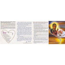 Folder składany Różaniec ze świętym Janem Pawłem II i MB Częstochowską