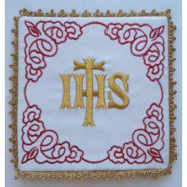 Palka biała haftowana IHS (2)
