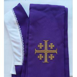 Stuła fioletowa Krzyż Jerozolimski do koncelebry