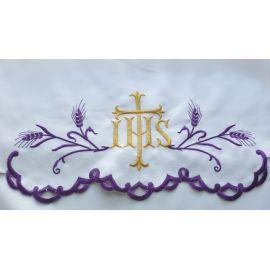 Obrus ołtarzowy haftowany - Kłosy IHS (75)