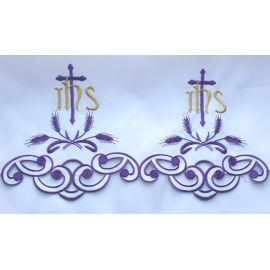 Obrus ołtarzowy haftowany - Krzyż IHS (64)