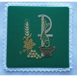 Palka haftowana zielona - P, ryba (11)