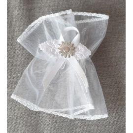 Tiulowa ozdoba na świecę - profitka kwiat srebrny (10)