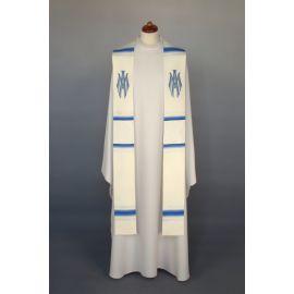 Stuła haftowana Maryjna - biało - niebieska (9)