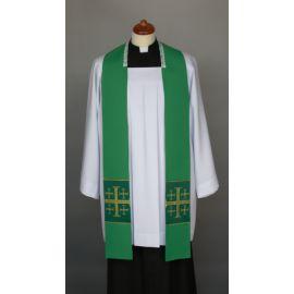 Stuła zielona do kazań, krótka, naszywane krzyże (5)