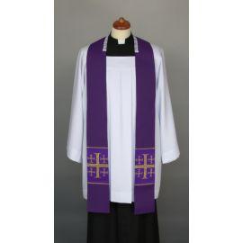 Stuła fioletowa do kazań, krótka, naszywane krzyże (6)