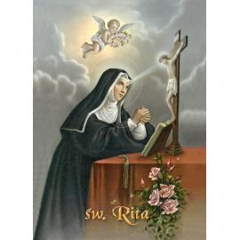Święta Rita - Ikona dwustronna z modlitwą format A5