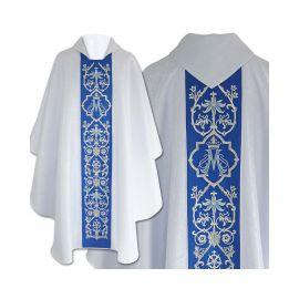 Ornat Maryjny gotycki, biały żakard