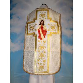 Ornat rzymski ecru/biały Serce Pana Jezusa (60)