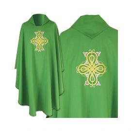 Ornat gotycki zielony haftowany - tkanina gładka (37)