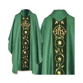 Ornat gotycki zielony haftowany - pas aksamit (42)