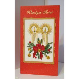 Kartka z obrazkiem haftowanym - Wesołych Świąt (1)