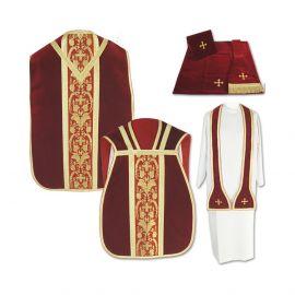 Ornat Rzymski czerwony z Manipularzem, Bursą i Welonem na kielich (17)