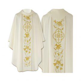 Ornat gotycki ecru haftowany - tkanina gładka (46)