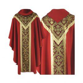 Ornat semi gotycki czerwony - tkanina gładka (61)
