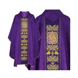Ornat gotycki fioletowy haftowany - tkanina żakard (52)