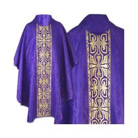 Ornat gotycki fioletowy haftowany - tkanina gładka (54)