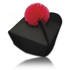 Biret czarny z kolorowym pomponem