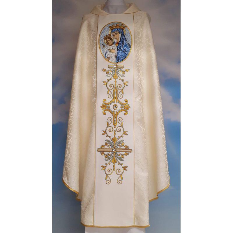 Ornat haftowany Matka Boża Kościoła - materiał rozeta