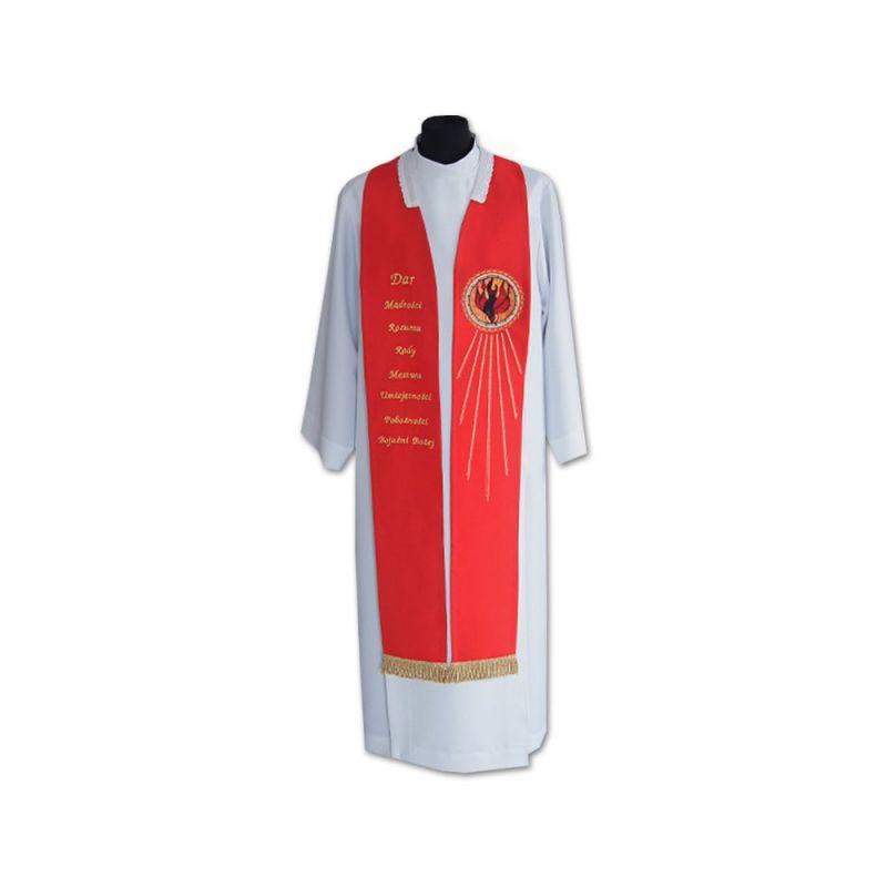 Stuła z Duchem Świętym - czerwona haftowana (2)