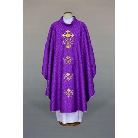 Ornat fioletowy haftowany, tkanina adamaszek - Krzyż (22)