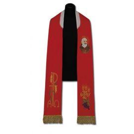 Stuła kapłańska czerwona Ojciec Pio (213)