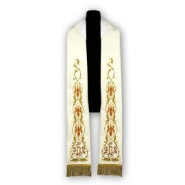 Stuła kremowa - wzór rzymski, haftowana (185)