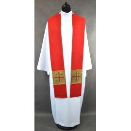 Stuła czerwona z krzyżami jerozolimskimi