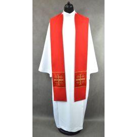 Stuła czerwona z krzyżami Jerozolimskimi - K