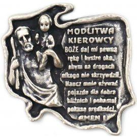 Plakietka metalowa z modlitwą kierowcy - Polska
