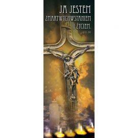 Baner Wielkanocny - Ja jestem zmartwychwstaniem i życiem