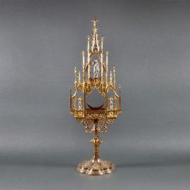 Monstrancja gotycka złocona
