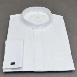 Biała koszula pod sutannę (spinki) - mała stójka