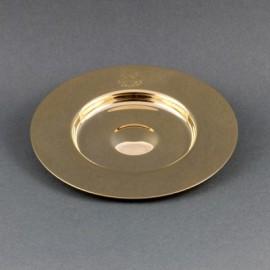 Patena kielichowa z wgłębieniem, mosiężna pozłacana śr. 14,5 cm