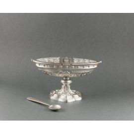 Łódka mosiężna srebrzona wys 10 cm