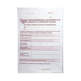 Zawiadomienie o Małżeństwie Zawartym na podstawie LIcencji - 25 szt./ opakowanie