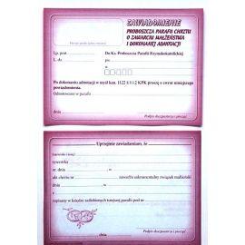 Zawiadomienie proboszcza parafii chrztu o zawarciu małżeństwa i dokonanej adnotacji - 50 szt.