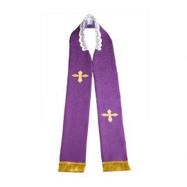 Stuła kapłańska haftowana - fioletowa (3)