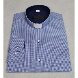 Koszula kapłańska slim - granat kratka